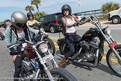 Kissa Von Addams (R) and Sarah Furey riding Highway A1A along the coast during Daytona Bike Week 75th Anniversary event. FL, USA. Thursday March 3, 2016.  Photography ©2016 Michael Lichter.