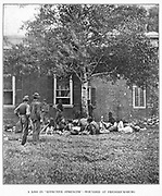 Federal wounded in the Wilderness campaign, at Fredericksburg. Grant lost 17.3 per cent, of his numbers engaged in the two days battles of the Wilderness alone. Lee s loss was 18.1 per cent. More than 24,000 of the Army of the Potomac and of the Army of Northern Virginia lay suffering in those uninhabited thickets. There many of them died alone, and some perished in the horror of a forest fire on the night of May 5th. The Federals lost many gallant officers, among them the veteran Wadsworth. The Confederates lost Generals Jenkins and Jones, killed, and suffered a staggering blow in the disabling of Longstreet. The series of battles of the Wilderness and Spotsylvania campaigns were more costly to the Federals than Antietam and Gettysburg combined. from the book ' The Civil war through the camera ' hundreds of vivid photographs actually taken in Civil war times, sixteen reproductions in color of famous war paintings. The new text history by Henry W. Elson. A. complete illustrated history of the Civil war