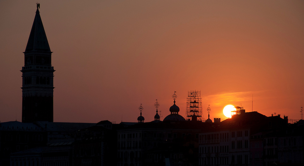 The sun setting over the stunning St Marks square.