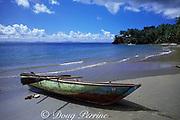 dugout fishing boat, Playa Anadel, Samana Bay, Dominican Republic, ( Caribbean Sea )