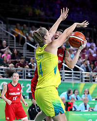 England's Rachael Vanderwal (back) has a shot blocked by Australia's Jenna O'Hea in the Women's Gold Medal Game at the Gold Coast Convention and Exhibition Centre during day ten of the 2018 Commonwealth Games in the Gold Coast, Australia.