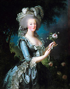 Portrait of Marie-Antoinette with the rose. Oil on canvas, Versailles. Dated 1783 and painted by Vigée-Le Brun.