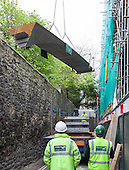 Pembroke College bridge deck installation. Brewer Street, Oxford, 21st May 2012.