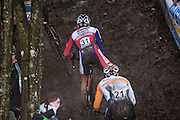 Belgium, Sunday 13th December 2015: Riders tackle a short but steep and muddy climb during the elite men's race at the Hansgrohe Superprestige cyclocross event at Spa Francorchamps.<br /> <br /> Copyright 2015 Peter Horrell