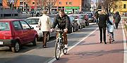 Pista ciclabile di Via Melchiorre Gioia a Milano..Cycle Track of via Melchiorre Gioia in Milan