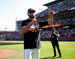 Oct 3, 2021; San Francisco, California, USA;  San Francisco Giants manager Gabe Kapler addresses the crowd as his team celebrates their 11-4 victory over the San Diego Padres at Oracle Park. The Giants clinched the National League West Division with the win. Mandatory Credit: D. Ross Cameron-USA TODAY Sports