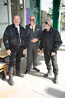 Ian Ogilvy, Jonathan Sothcott, Billy Murray on the set of Renegades ,Upper Street Islington<br /> .