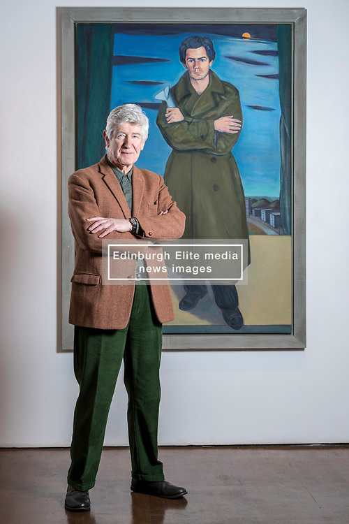 Edinburgh's Open Eye Gallery presents an exhibition of portraits by Alexander Moffat OBE RSA timed to coincide with the publication of his monograph, A View of the Nation (Luath Press). With text by Bill Hare, the book charts Moffat's eminent career as a portraitist of the greats of modern Scottish culture. The exhibition includes portraits of poets involved in Hugh MacDiarmid's Scottish Renaissance as well as renowned Scottish artists Alasdair Gray, Adrian Wiszniewski, Peter Howson and Ken Currie.<br /> <br /> The exhibition runs from 10 January 2018 to 29 January 2018.<br /> <br /> Pictured: Alexander (Sandy) Moffat with his 1998 painting of the artist David Hosie
