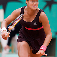 07 June 2007: Serbian player Ana Ivanovic rushes to the ball during the French Tennis Open semi final won 6-2, 6-1 by Ana Ivanovic over Maria Sharapova on day 12 at Roland Garros, in Paris, France.