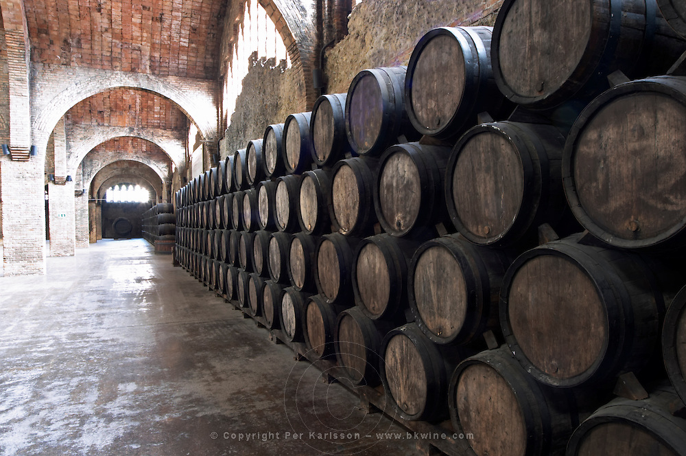 Oak barrel aging and fermentation cellar. Codorniu, Sant Sadurni d'Anoia, Penedes, Catalonia, Spain