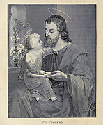 Saint Joseph From ' The pictorial Catholic library ' containing seven volumes in one: History of the Blessed Virgin -- The dove of the tabernacle -- Catholic history -- Apparition of the Blessed Virgin -- A chronological index -- Pastoral letters of the Third Plenary. Council -- A chaplet of verses -- Catholic hymns  Published in New York by Murphy & McCarthy in 1887