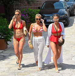 EXCLUSIVE: Billie & Sam Faiers arrive at Ocean Beach Ibiza along side Ferne McCann and the rest of the group. The hens are all sporting matching red swimsuits for the occasion. 26 Aug 2018 Pictured: Billie and Sam Faiers & Ferne McCann. Photo credit: MEGA TheMegaAgency.com +1 888 505 6342