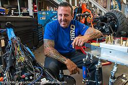 John Shope at his Dirtybird Customs shop during Arizona Bike Week 2014. USA. Wednesday, April 3, 2014.  Photography ©2014 Michael Lichter.