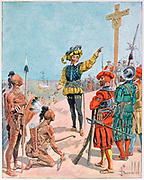 Jacques Cartier (1491-1557) French explorer on his first voyage making contact with St Lawrence Iroquoians on 24 July 1534, at Gaspe Bay, Canada, and planting a 10 metre cross claiming the territory in the name of France.  Colonialism
