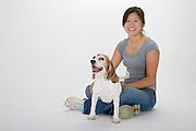 dog, canine, portrait, portraiture, beagle, woman, girl