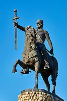 Georgie, Caucase, région de Kakheti, Telavi, statue du roi Erekle II // Georgia, Caucasus, Kakheti region, Telavi, Erekle II king statue