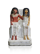 Ancient Egyptian statue of Amenmes and his wife Taka, New Kingdom, 18th Dynasty, (1480-1390 BC), Thebes Necropolis. Egyptian Museum, Turin. Grey background. Drovetti collection. Cat 3059 .<br /> <br /> If you prefer to buy from our ALAMY PHOTO LIBRARY  Collection visit : https://www.alamy.com/portfolio/paul-williams-funkystock/ancient-egyptian-art-artefacts.html  . Type -   Turin   - into the LOWER SEARCH WITHIN GALLERY box. Refine search by adding background colour, subject etc<br /> <br /> Visit our ANCIENT WORLD PHOTO COLLECTIONS for more photos to download or buy as wall art prints https://funkystock.photoshelter.com/gallery-collection/Ancient-World-Art-Antiquities-Historic-Sites-Pictures-Images-of/C00006u26yqSkDOM