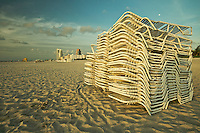 Stacked Chairs in South Beach, Miami Beach, FL, USA.