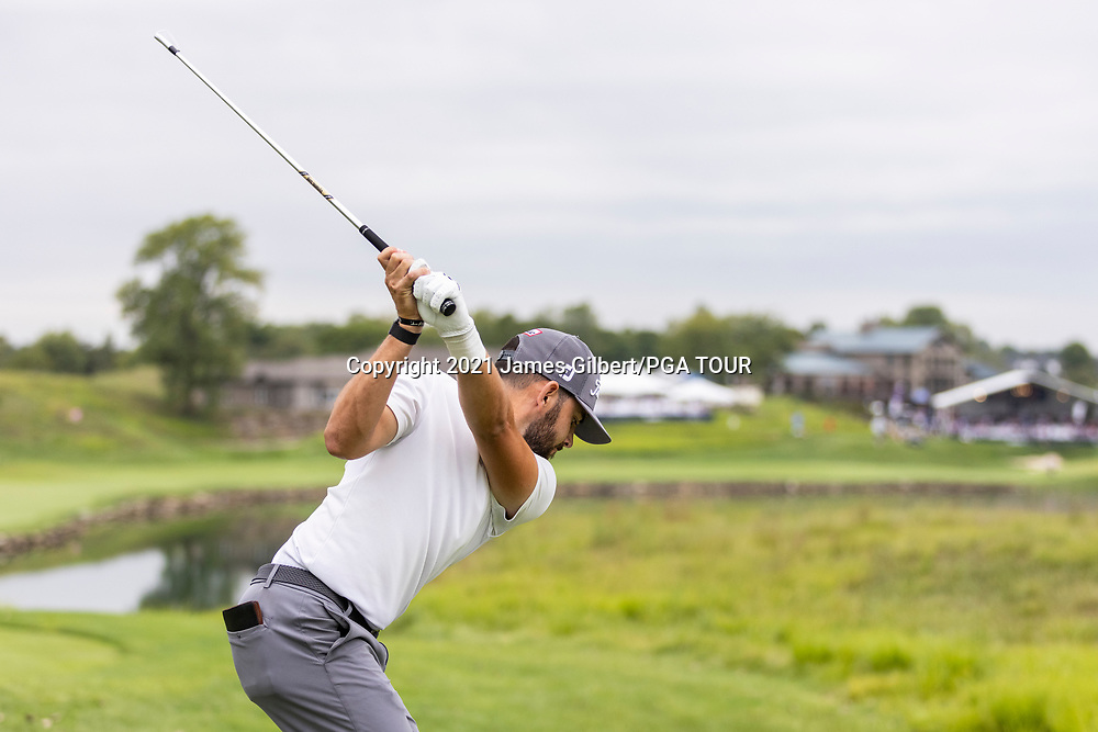 NEWBURGH, IN - SEPTEMBER 04: Hayden Buckley plays his shot from the 18th tee during the third round of the Korn Ferry Tour Championship presented by United Leasing and Financing at Victoria National Golf Club on September 4, 2021 in Newburgh, Indiana. (Photo by James Gilbert/PGA TOUR via Getty Images)