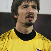 Trabzonspor's goalkeeper Tolga Zengin during their Turkish superleague soccer derby match Trabzonspor between Besiktas at the Avni Aker Stadium in Trabzon Turkey on Sunday, 27 November 2011. Photo by TURKPIX