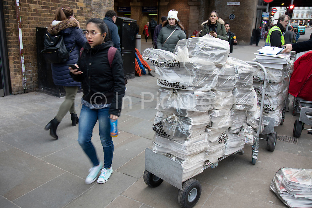 Free Evening Standard newspapers arriving at London Bridge on 16th January 2020 in London, England, United Kingdom. The Evening Standard is a local, free daily newspaper, published Monday to Friday in tabloid format in London.