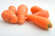 Cutout of Fresh carrots on white background