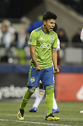 November 8, 2018 - Seattle, Washington, U.S - RAUL RUIDIAZ (9) shows his frustration as he missed a shot on goal. The Portland Timbers visited the Seattle Sounders in a MLS Western Conference semi-final match at Century Link Field in Seattle, WA. (Credit Image: © Jeff Halstead/ZUMA Wire)