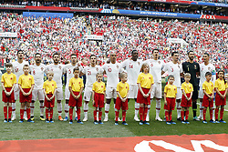 (l-r) Goncali Guedes of Portugal, Joao Moutinho of Portugal, Bernardo Silva of Portugal, Raphael Guerreiro of Portugal, Cedric of Portugal, Joao Mario of Portugal, William Carvalho of Portugal, Jose Fonte of Portugal, Pepe of Portugal, goalkeeper Rui Patricio of Portugal, Cristiano Ronaldo of Portugal during the 2018 FIFA World Cup Russia group B match between Portugal and Morocco at the Luzhniki Stadium on June 20, 2018 in Moscow, Russia