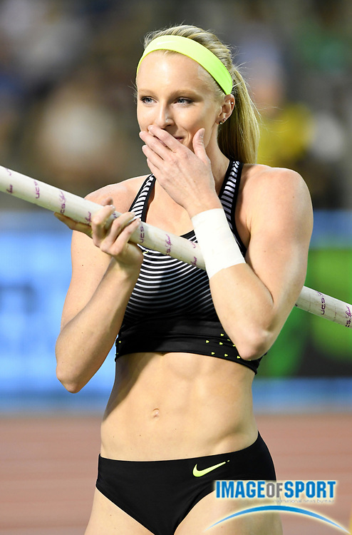 Sep 9, 2016; Brussels, Belgium; Sandi Morris (USA) celebrates after winning the women's pole vault with a clearance of 16-4¾ (5.00m) in the 41st Memorial Van Damme at King Baudouin Stadium. Photo by Jiro Mochiuzki