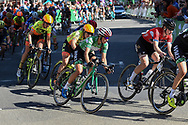 Katarzyna Niewiadoma (POL) (green) riding for WM3 Pro Cycling on her way to becoming the overall winner of the OVO Energy Women's Tour, London Stage, at Regent Street, London, United Kingdom on 11 June 2017. Photo by Martin Cole.