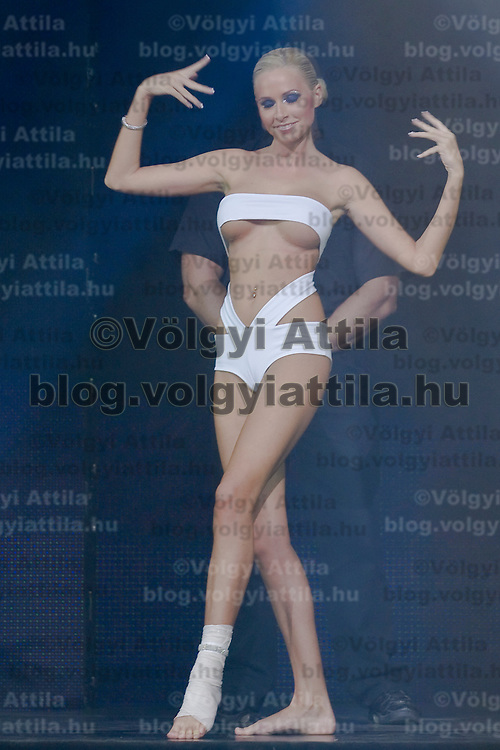 Alexandra Horvath is the injured participant of the Miss Plastic Hungary 2009 beauty contest for beauties with surgically enhanced bodies, Budapest, Hungary. Saturday, 10. October 2009. ATTILA VOLGYI