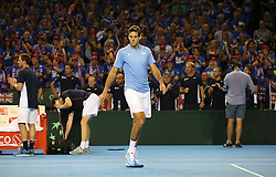 Argentina's Juan Martin Del Potro looks dejected after defeat to Great Britain's Andy Murray and Jamie Murray during day two of the Davis Cup at the Emirates Arena, Glasgow.