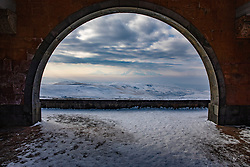 Charents Arch With Ararat On Horizon
