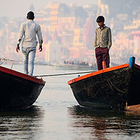 The boatmen that row the boats along the ghats of Varanasi waiting for customers.