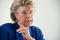 17 SEP 2010, BERLIN/GERMANY:<br /> Viviane Reding, EU-Kommissarin fuer Justiz, Grundrechte und Buergerschaft, waehrend einem Interview, Vertretung der Europaeischen Kommision in Berlin<br /> IMAGE: 20100917-01-010
