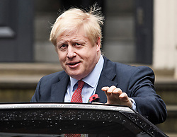 © Licensed to London News Pictures. 04/11/2019. London, UK. Prime Minister Boris Johnson leaves Conservative Party headquarters in Westminster, central London. A general election has been called on December 12th in an attempt to get a Brexit agreement through parliament. Photo credit: Ben Cawthra/LNP