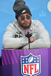 January 29, 2018 - St Paul, Minn, USA - Lane Johnson of the Philadelphia Eagles gives an interview at the official Superbowl Lll Press Conference at the Xcel Arena. The New England Patriots and the Philadelphia Eagles and their coaches spoke to over 3,000 media personnel from around the world at the Xcel Arena. (Credit Image: © Sean Smuda via ZUMA Wire)