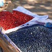 Central America, Cuba, Santa Clara. A variety of beans for sale at a Cuban street market.