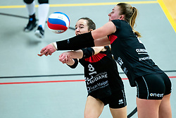 Marly Bak of Zwolle, Siska Hoekstra of Zwolle in action during the first league match between Djopzz Regio Zwolle Volleybal - Laudame Financials VCN on February 27, 2021 in Zwolle.