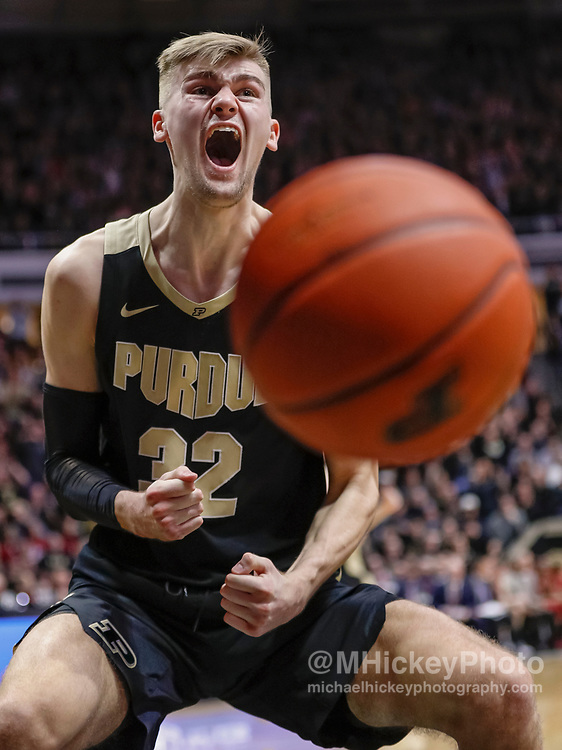 WEST LAFAYETTE, IN - JANUARY 19: Matt Haarms #32 of the Purdue Boilermakers reacts after a dunk in the second half of the game against the Indiana Hoosiers at Mackey Arena on January 19, 2019 in West Lafayette, Indiana. (Photo by Michael Hickey/Getty Images) *** Local Caption *** Matt Haarms