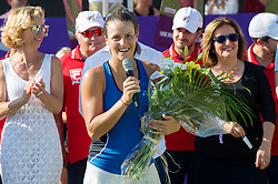 Tatjana Maria (GER) during the victory ceremony after winning the Mallorca Open at Country Club Santa Ponsa on June 24, 2018 in Mallorca, Spain. Photo Credit: Katja Boll/EVENTMEDIA.