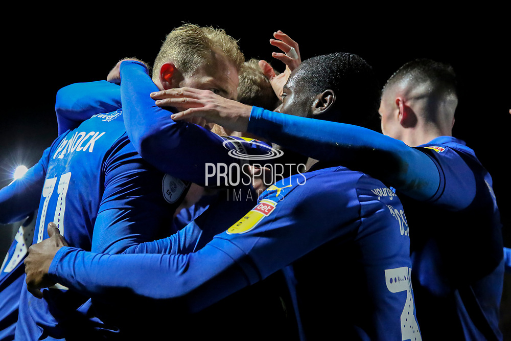 AFC Wimbledon midfielder Mitchell (Mitch) Pinnock (11) celebrating after scoring goal  during the EFL Sky Bet League 1 match between AFC Wimbledon and Burton Albion at the Cherry Red Records Stadium, Kingston, England on 28 January 2020.