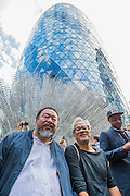 Passing Weiwei's sculpture Forever outside the Gherkin in the City - Anish Kapoor and Ai Weiwei go for a walk in London - The two artists have joined hands to walk out of London on Thursday. Each will carry a single blanket as a symbol of the need that faces 60 million refugees in the world today. The Artists have said that they welcome Londoners to join them along their route and ask that Londoners too bring a blanket in gesture of support. The artists will repeat this action in cities across the world over the next few months. The walk started at 10am on Thursday 17th September, at the Royal Academy of Arts passed: Piccadilly Circus; Trafalgar Square; Whitehall;  St Paul's Cathedral; Bank and ended up at Stratford.