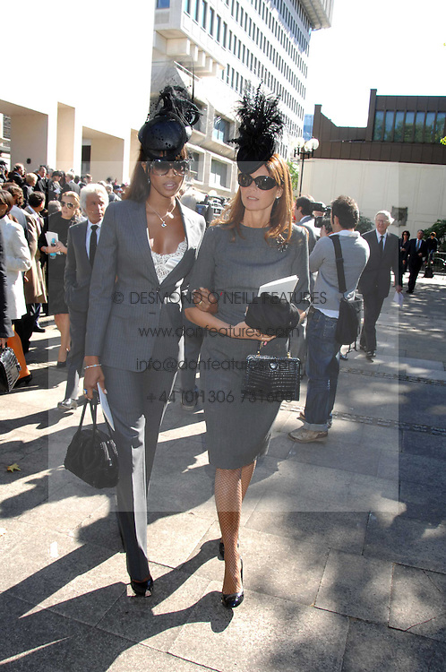 Left to right, NAOMI CAMPBELL and COUNTESS DEBONAIRE VON BISMARCK at the memorial service of Isabella Blow held at the Guards Chapel, London W1 on 18th September 2007.<br /><br />NON EXCLUSIVE - WORLD RIGHTS