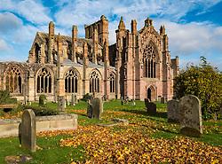 View of Melrose Abbey in Scottish Borders, Scotland, United Kingdom