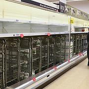 Shopper emtry shelf at Tesco of the #coronavirus threat at Tesco in Leytonstone on 20 March 2020, London, UK.