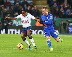 December 8, 2018 - Leicester, England, United Kingdom - Leicester, December 08, 2018.Leicester City's James Maddison holds onto Tottenham Hotspur's Kyle Walker-Peters.during the English Premier League match between Leicester City and Tottenham Hotspur at the King Power Stadium in Leicester, Britain, 8 December 2018  (Credit Image: © Action Foto Sport/NurPhoto via ZUMA Press)