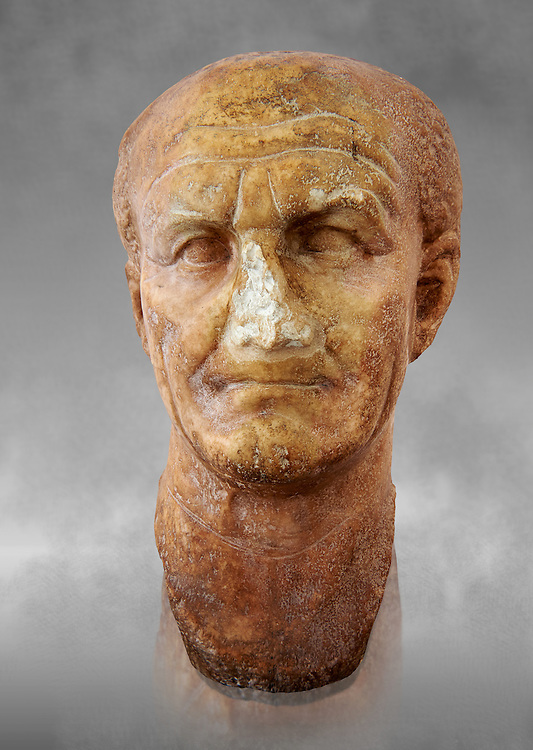 Roman sculpture of the Emperor Vespesien, excavated  from Althiburos sculpted circa  69-79AD. The Bardo National Museum, Tunis, Inv No: C.1025. Against a grey art background. .<br /> <br /> If you prefer to buy from our ALAMY STOCK LIBRARY page at https://www.alamy.com/portfolio/paul-williams-funkystock/greco-roman-sculptures.html . Type -    BARDO    - into LOWER SEARCH WITHIN GALLERY box - Refine search by adding a subject, place, background colour, museum etc.<br /> <br /> Visit our CLASSICAL WORLD HISTORIC SITES PHOTO COLLECTIONS for more photos to download or buy as wall art prints https://funkystock.photoshelter.com/gallery-collection/The-Romans-Art-Artefacts-Antiquities-Historic-Sites-Pictures-Images/C0000r2uLJJo9_s0c