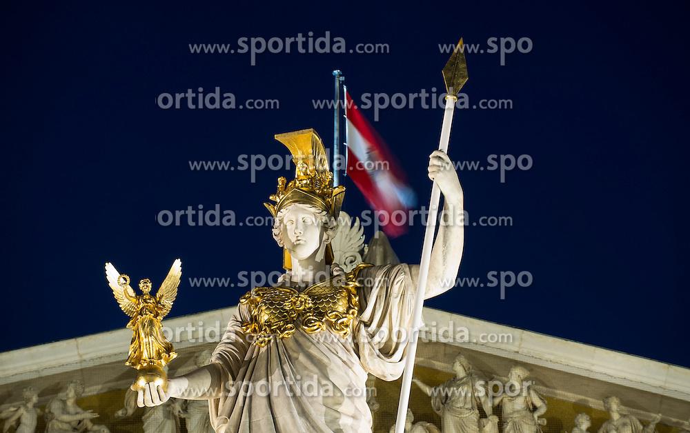 THEMENBILD - Oesterreichisches Parlament waehrend der Blauen Stunde. Das Bild wurde am 11. April 2013 aufgenommen. im Bild Statue Pallas Athene // THEME IMAGE FEATURE - Austrian Parliament at Twilight Hour. The image was taken on april, 11th, 2013. Picture shows Statue Pallas Athene, AUT, EXPA Pictures © 2013, PhotoCredit: EXPA/ Michael Gruber