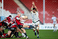Willi Heinz of Gloucester Rugby has his kick charged down during the Gallagher Premiership Rugby match between Gloucester Rugby and Exeter Chiefs at the Kingsholm Stadium, Gloucester, United Kingdom on 26 March 2021.